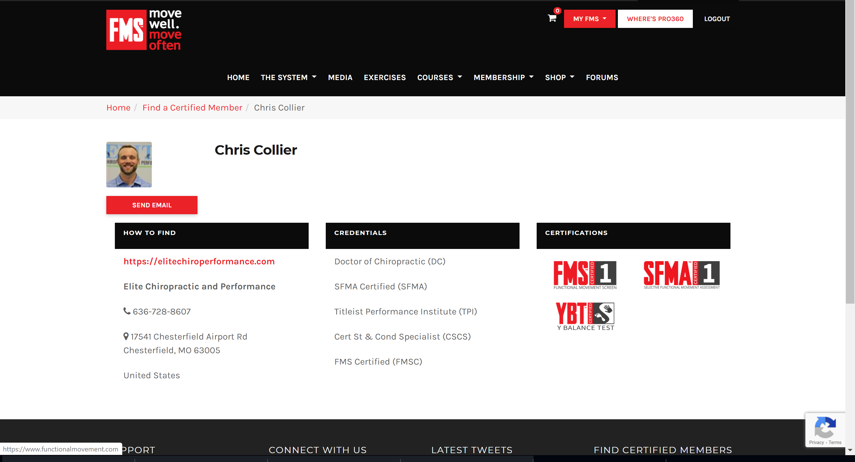 Snapshot of Dr. Chris Collier's FMS profile