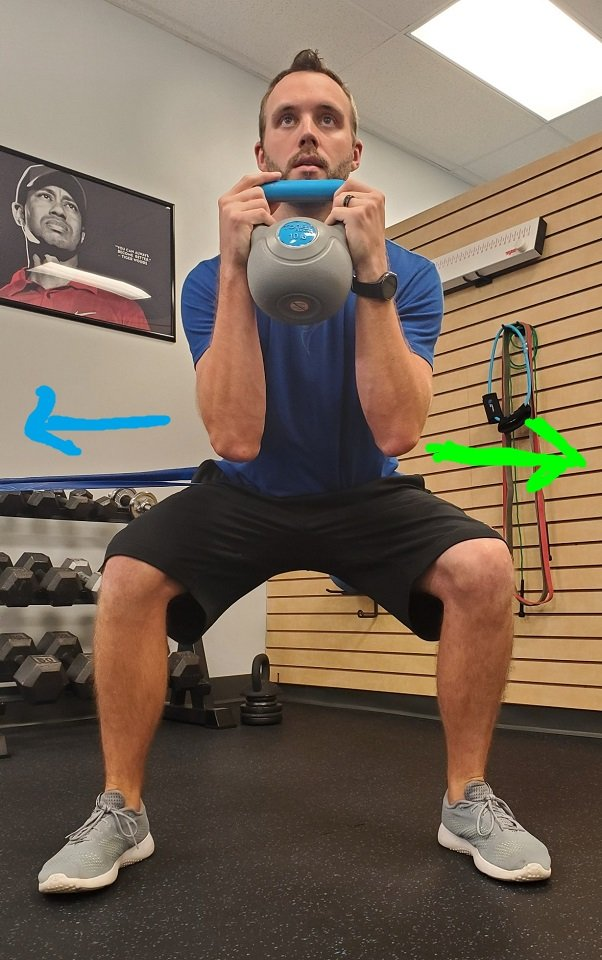 Using a band to prevent weight shifting during the squat.