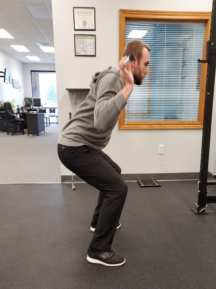 Squatting with tight ankles.