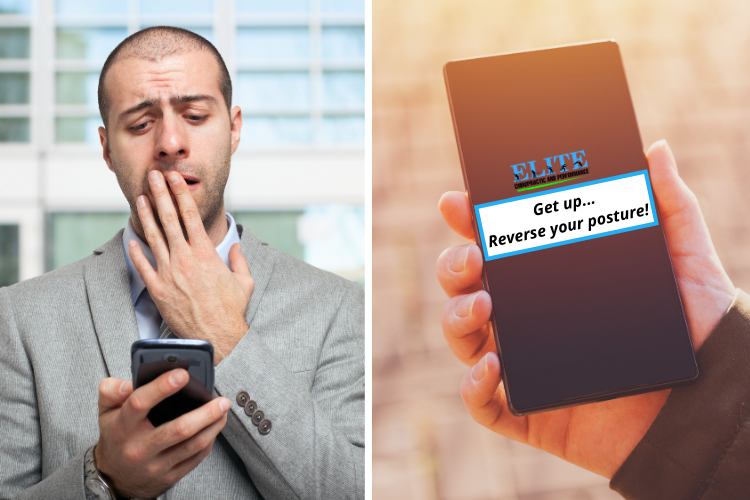 A phone notification reminding a man to reverse his posture.